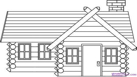 How to Draw Log Cabin House Log Cabin Drawings, house