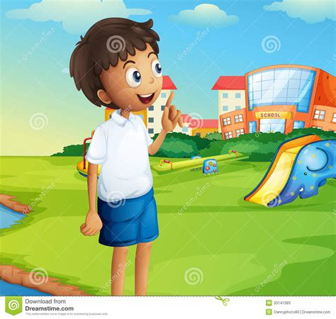 A Boy At The School Playground Stock Vector - Illustration