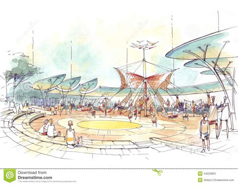 Architectural Drawing Of Playground In The City Stock